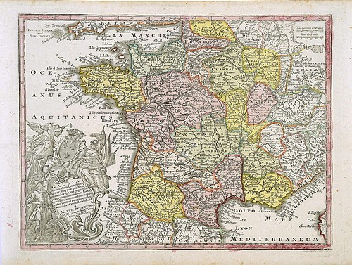 Finnerups Antikvariat Landkort Frankrig